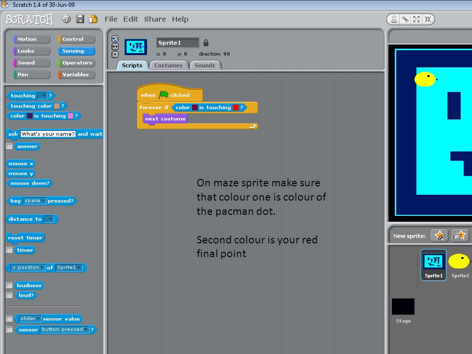 On maze sprite make sure that colour one is colour of the pacman dot.