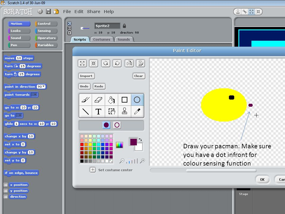 Draw your pacman. Make sure you have a dot infront for colour sensing function