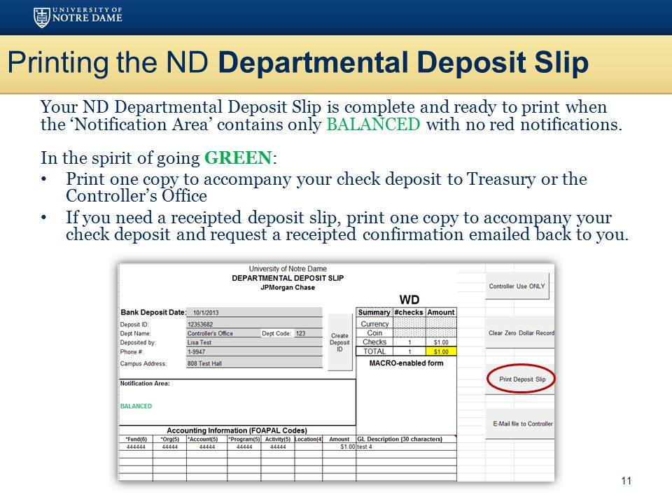 Printing the ND Departmental Deposit Slip
