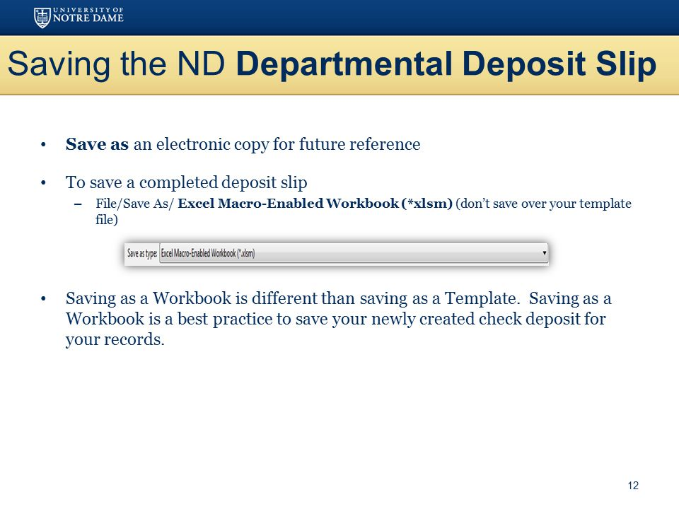 Saving the ND Departmental Deposit Slip