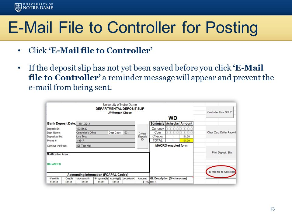 E-Mail File to Controller for Posting