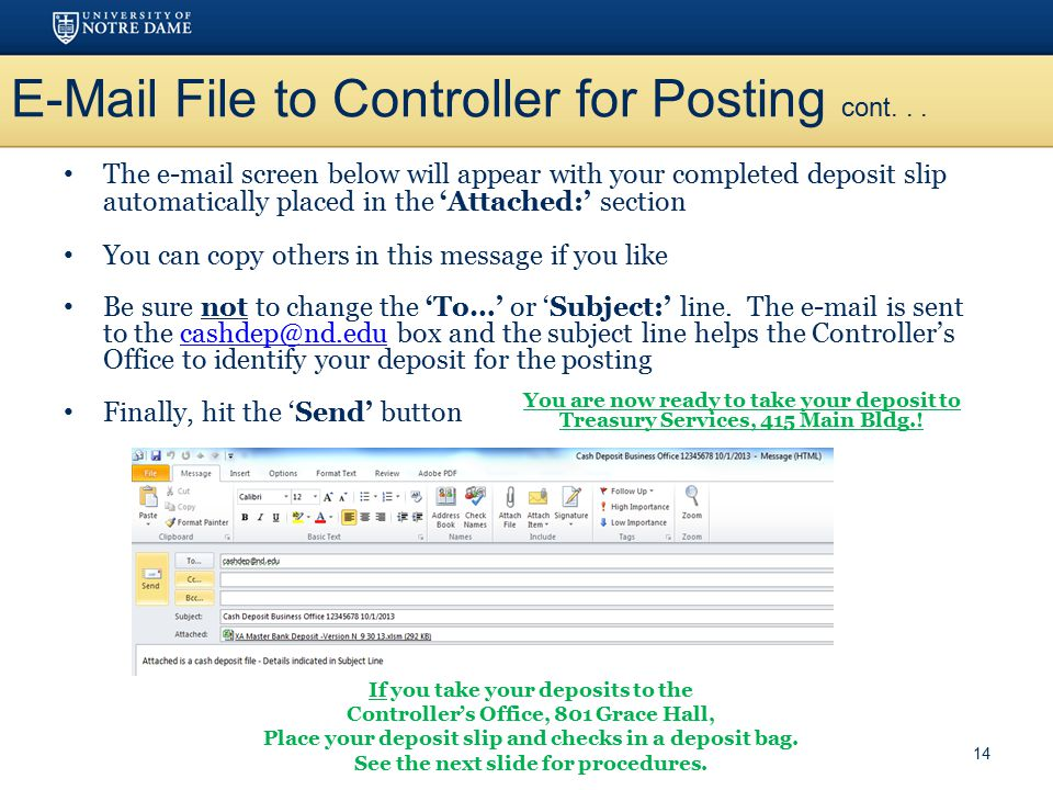 E-Mail File to Controller for Posting cont. . .