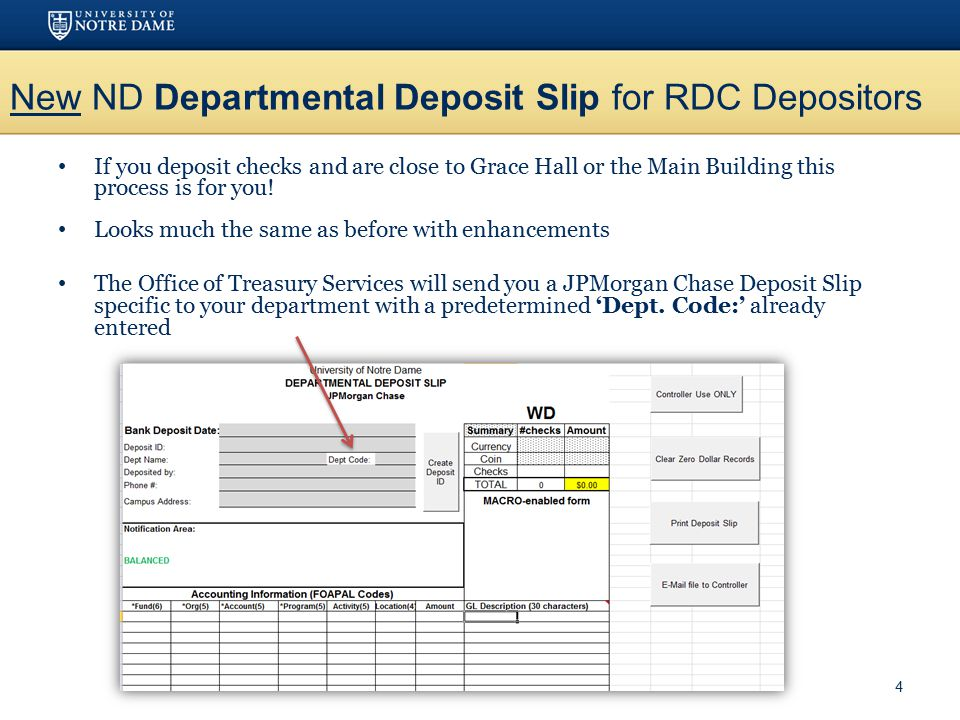 New ND Departmental Deposit Slip for RDC Depositors