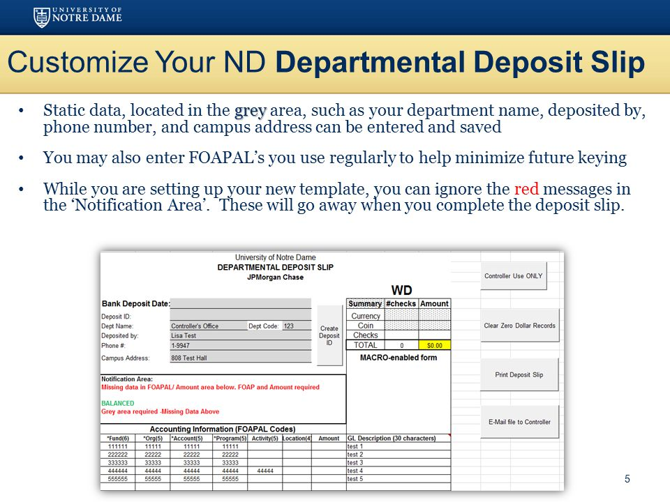 Customize Your ND Departmental Deposit Slip