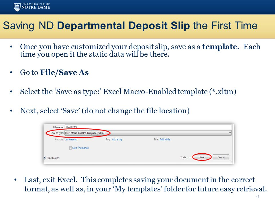 Nd Departmental Deposit Slip Procedures For Check Deposits With