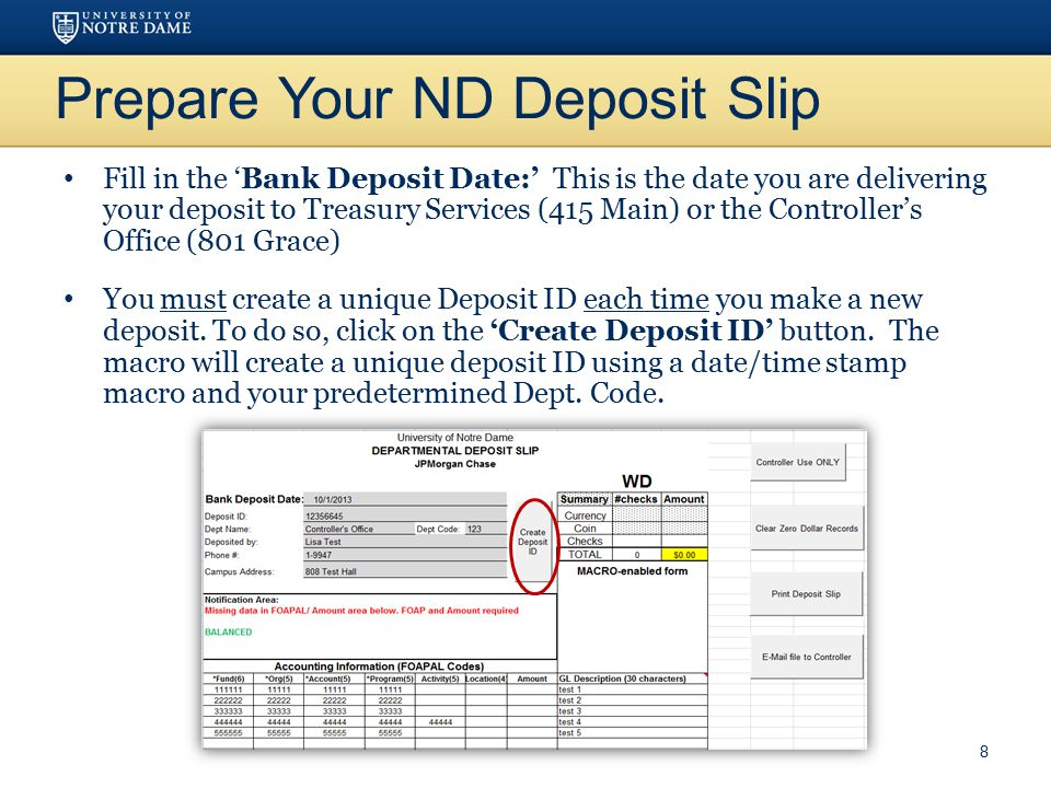 Prepare Your ND Deposit Slip