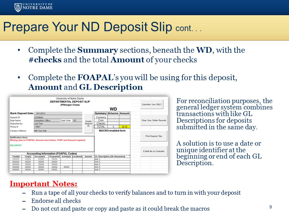 Prepare Your ND Deposit Slip cont. . .