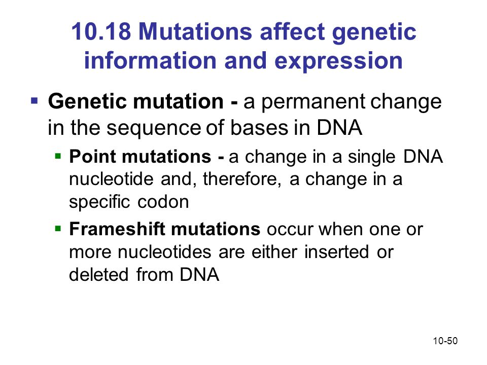 10.18 Mutations affect genetic information and expression