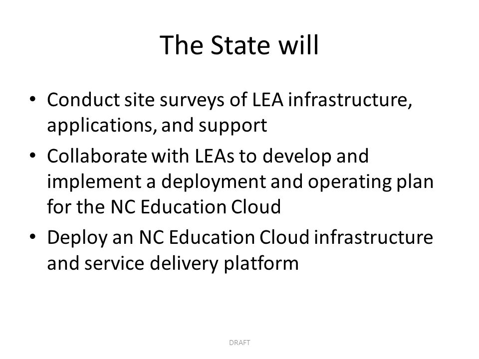 The State will Conduct site surveys of LEA infrastructure, applications, and support.