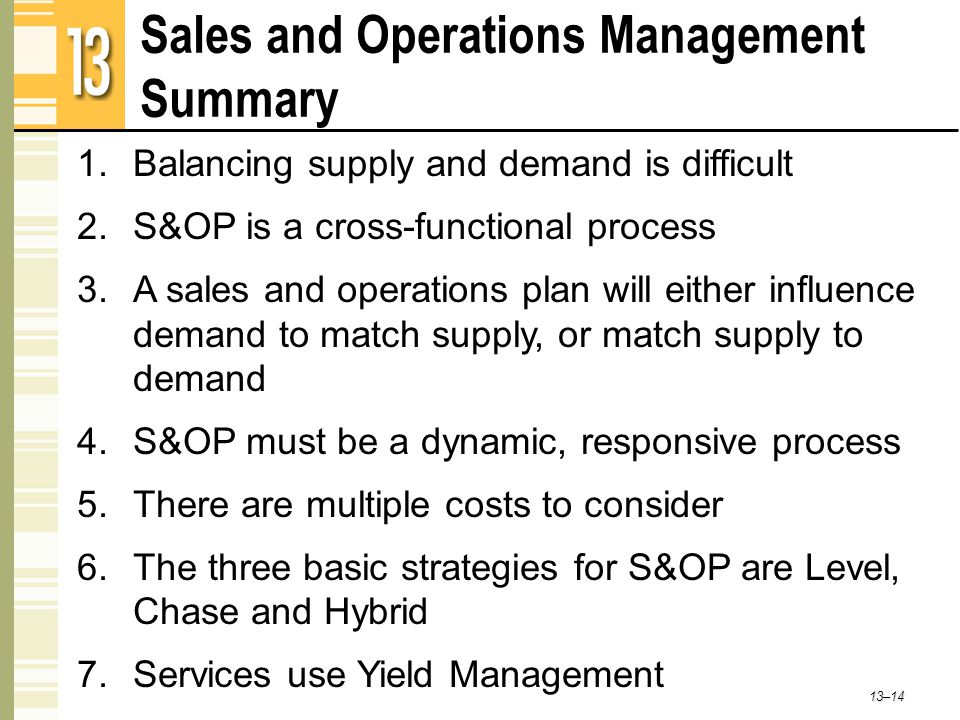 Sales and Operations Management Summary