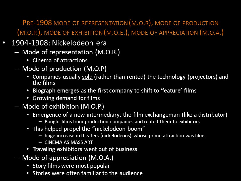 Pre-1908 mode of representation (m. o. r), mode of production (m. o. p