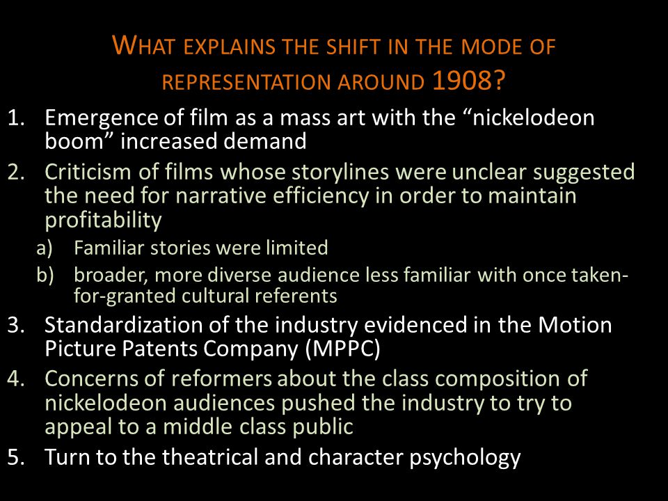 What explains the shift in the mode of representation around 1908