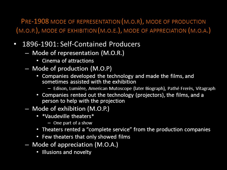1896-1901: Self-Contained Producers
