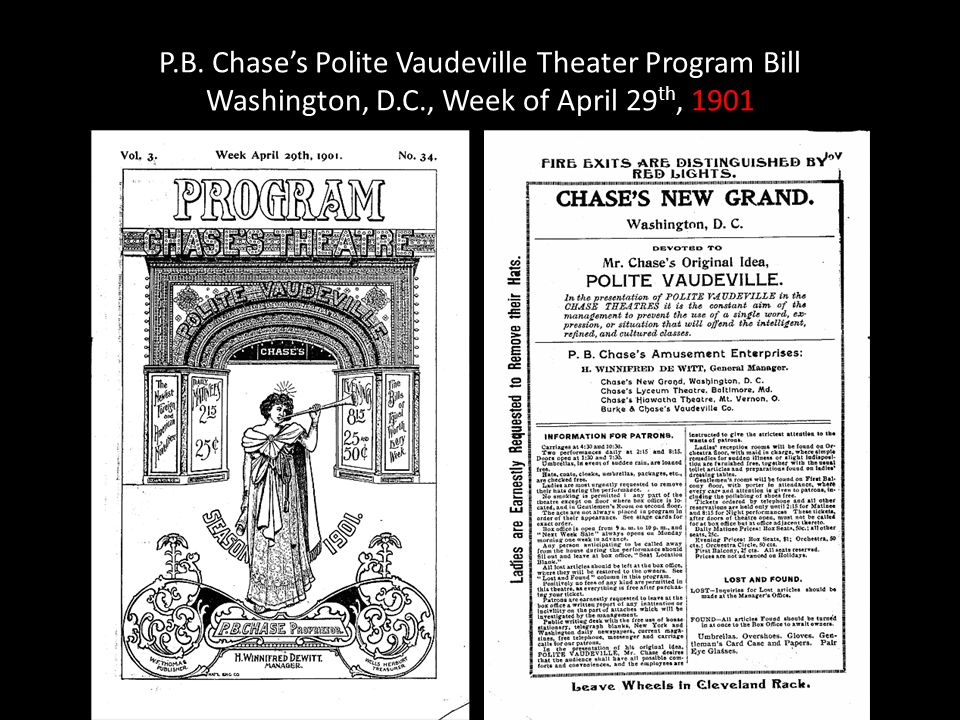 P. B. Chase's Polite Vaudeville Theater Program Bill Washington, D. C