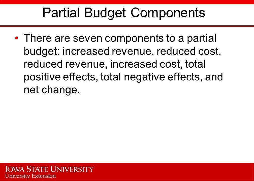 Partial Budget Components
