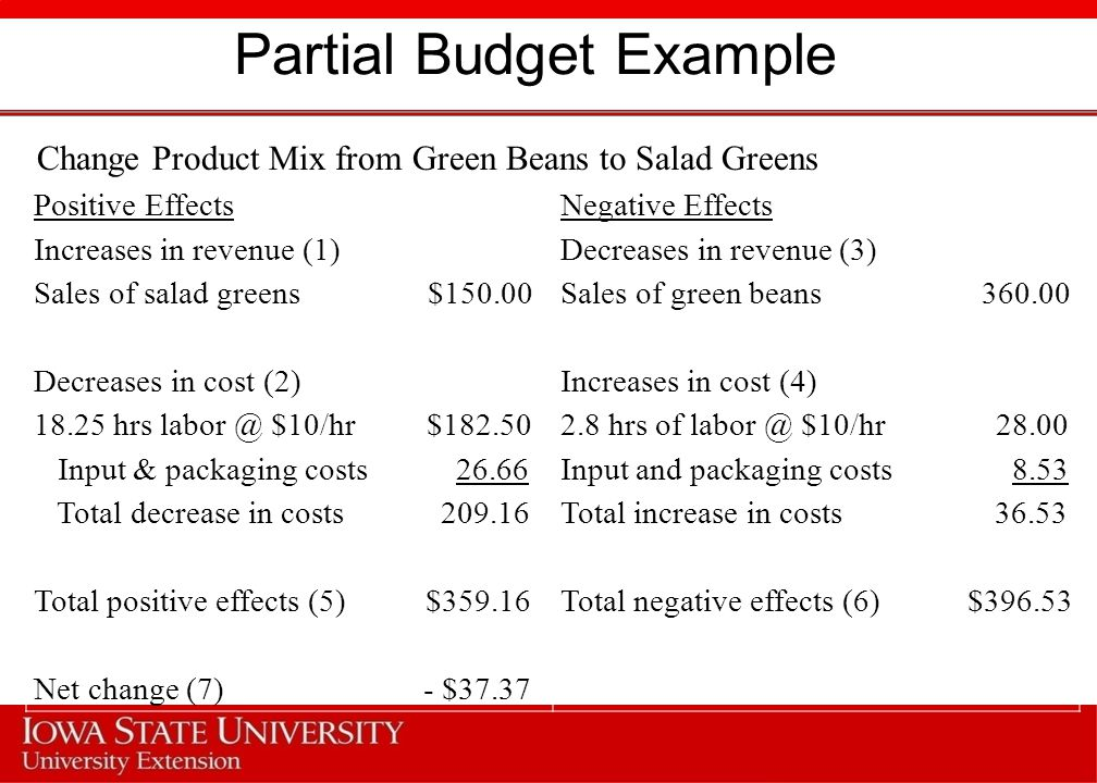 Partial Budget Example