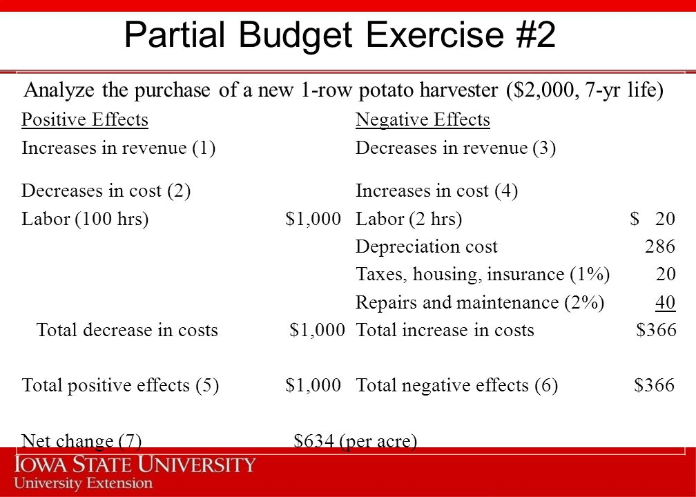 Partial Budget Exercise #2