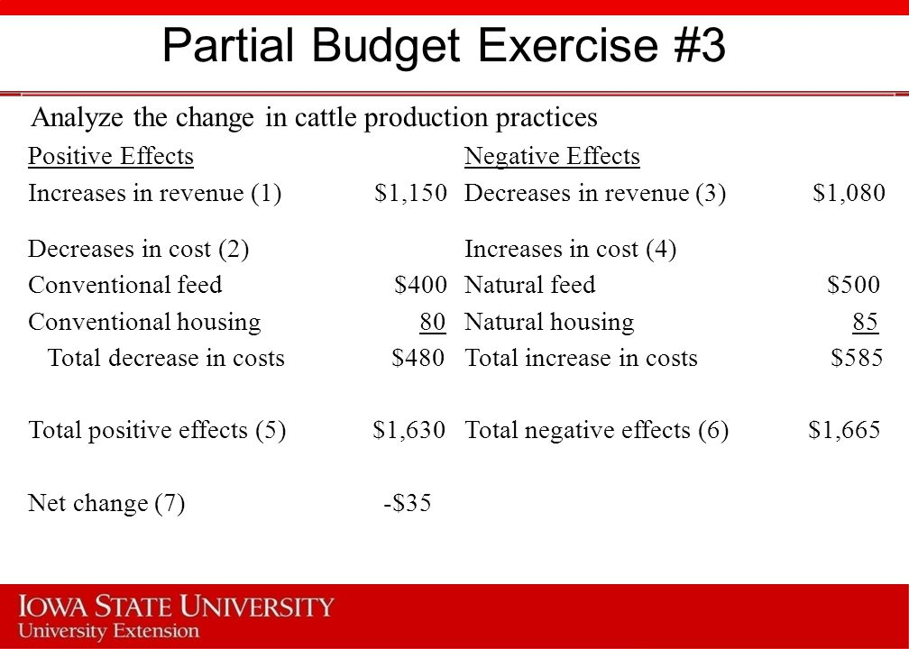 Partial Budget Exercise #3