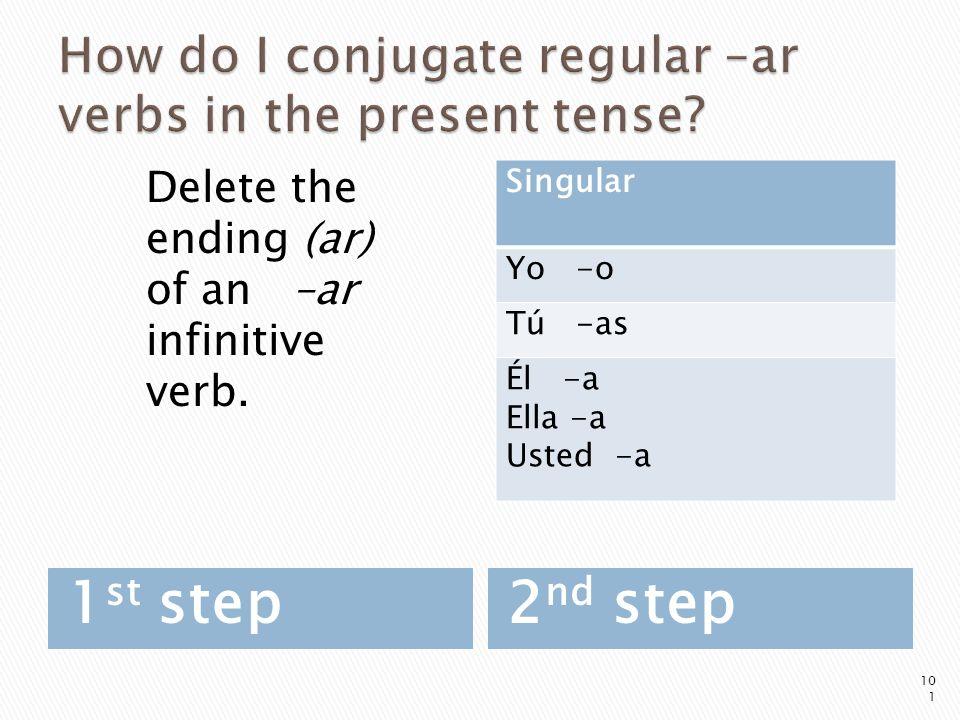 How do I conjugate regular –ar verbs in the present tense