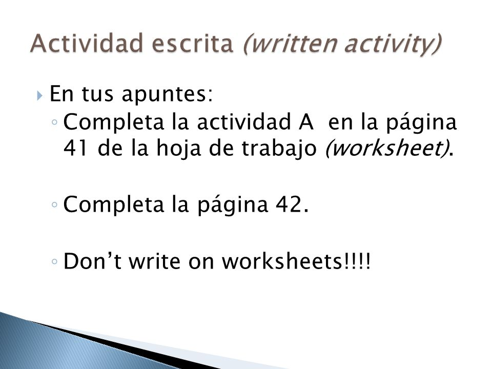Actividad escrita (written activity)