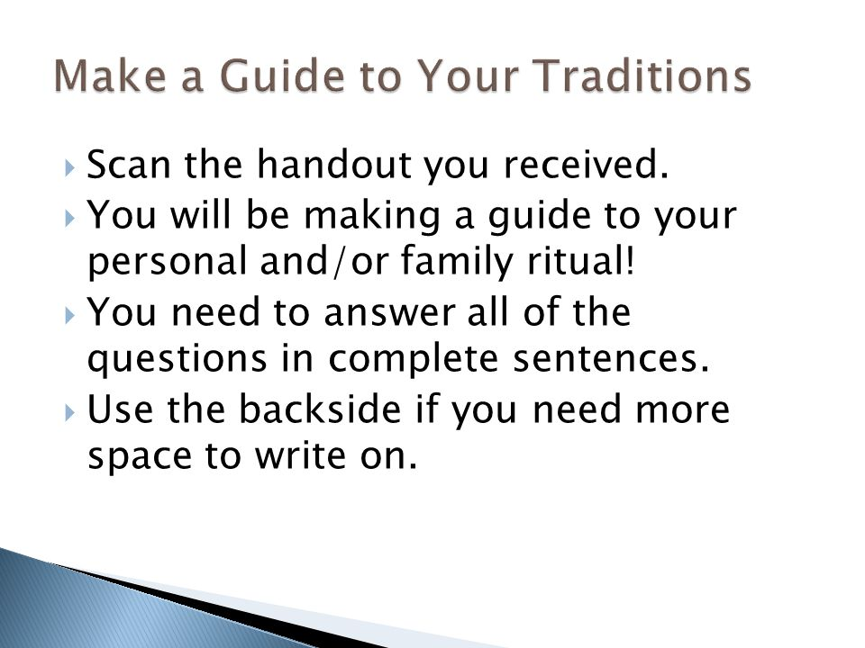 Make a Guide to Your Traditions