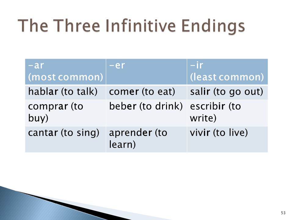 The Three Infinitive Endings