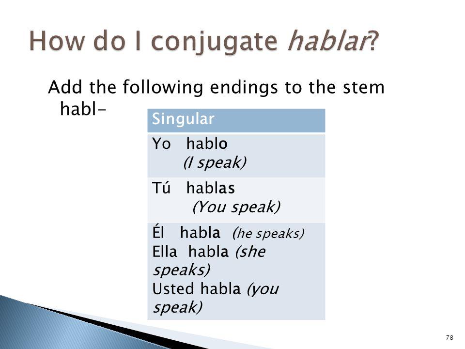 How do I conjugate hablar