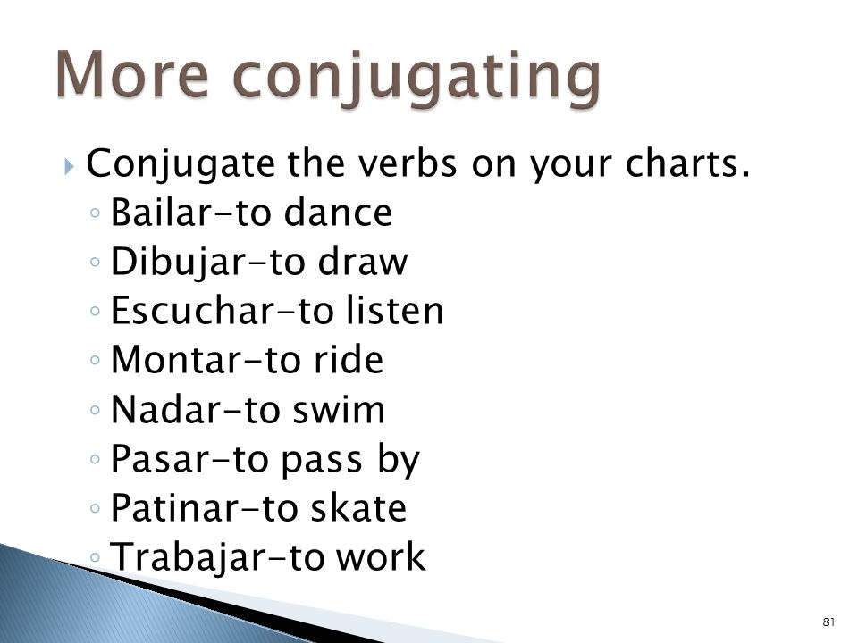 More conjugating Conjugate the verbs on your charts. Bailar-to dance