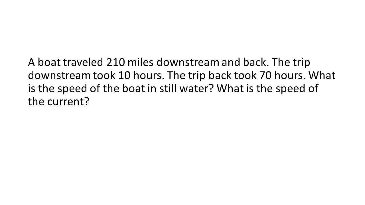 A boat traveled 210 miles downstream and back