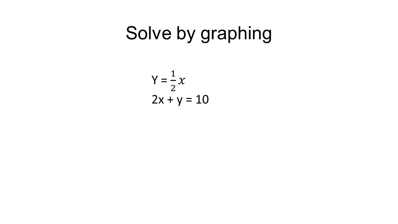 Solve by graphing Y = 1 2 𝑥 2x + y = 10