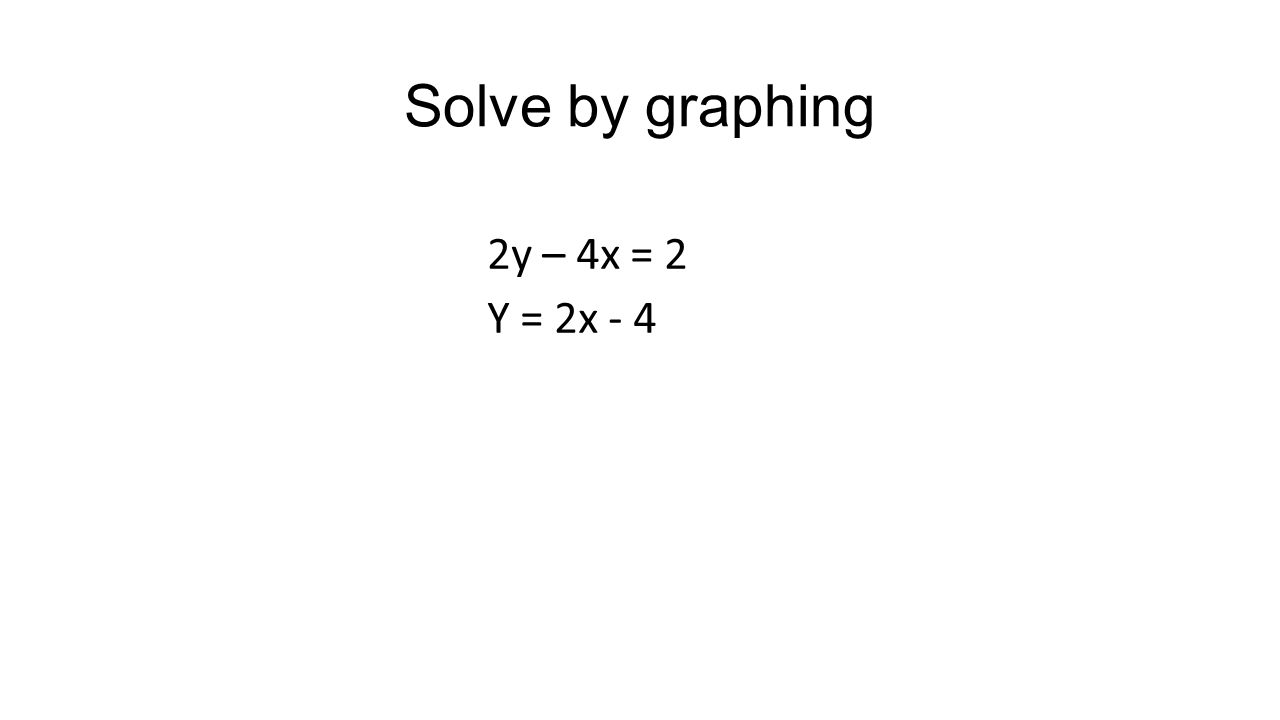 Solve by graphing 2y – 4x = 2 Y = 2x - 4