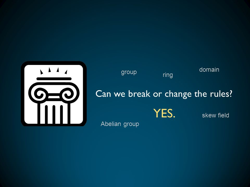 YES. Can we break or change the rules domain group ring skew field