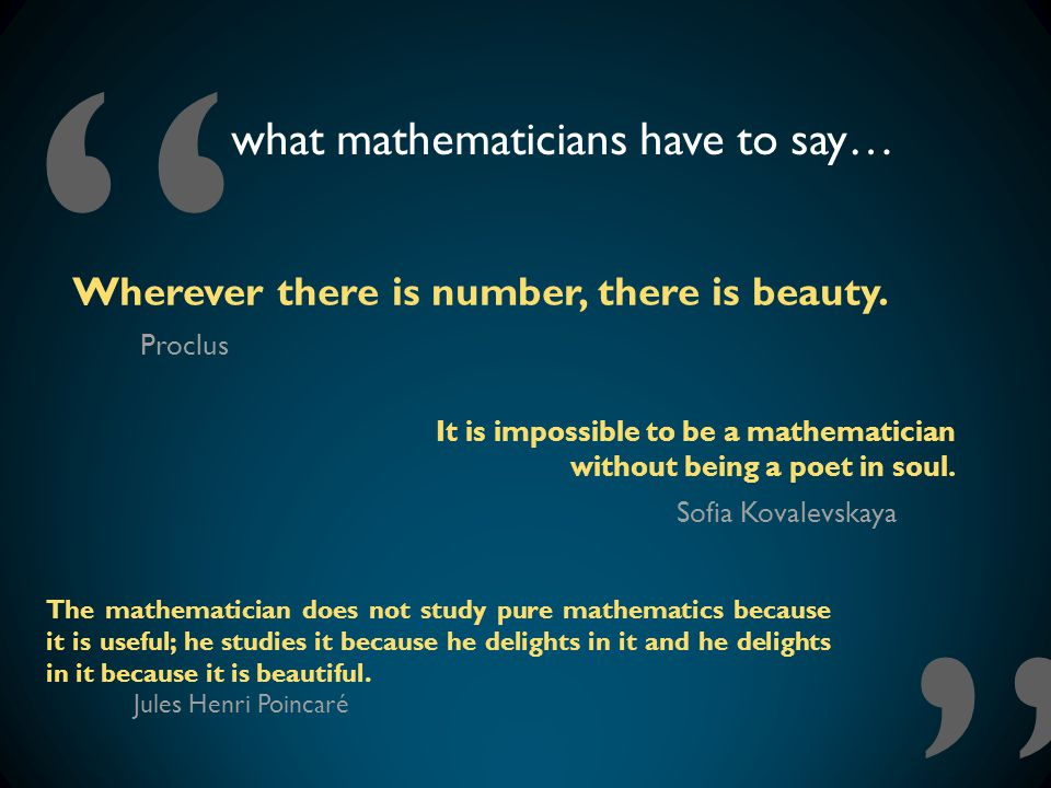 what mathematicians have to say…