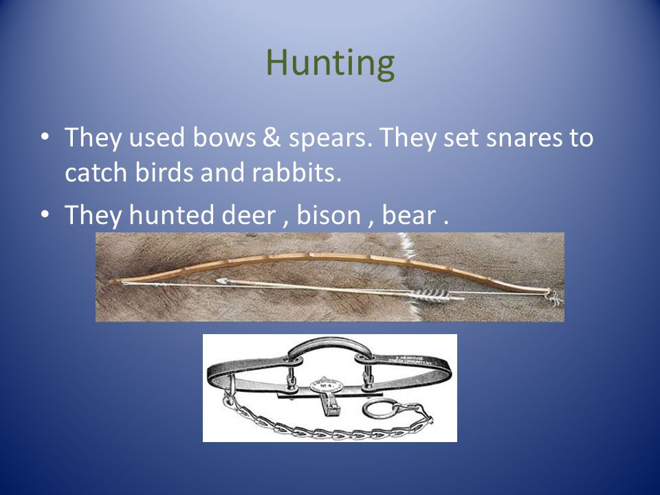 Hunting They used bows & spears. They set snares to catch birds and rabbits.
