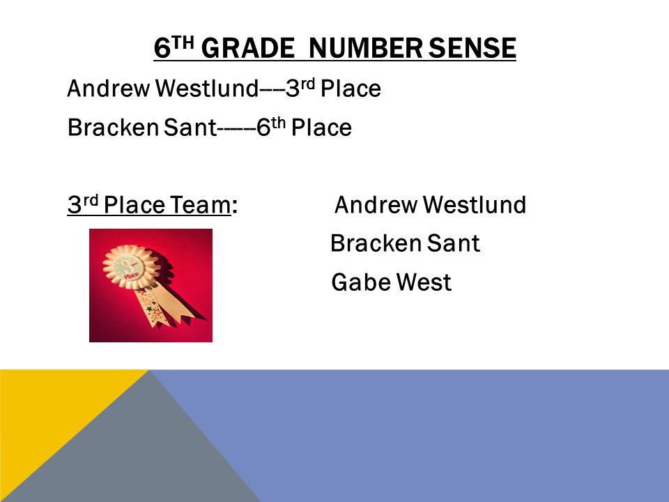 6th grade number sense Andrew Westlund----3rd Place Bracken Sant------6th Place 3rd Place Team: Andrew Westlund Bracken Sant Gabe West