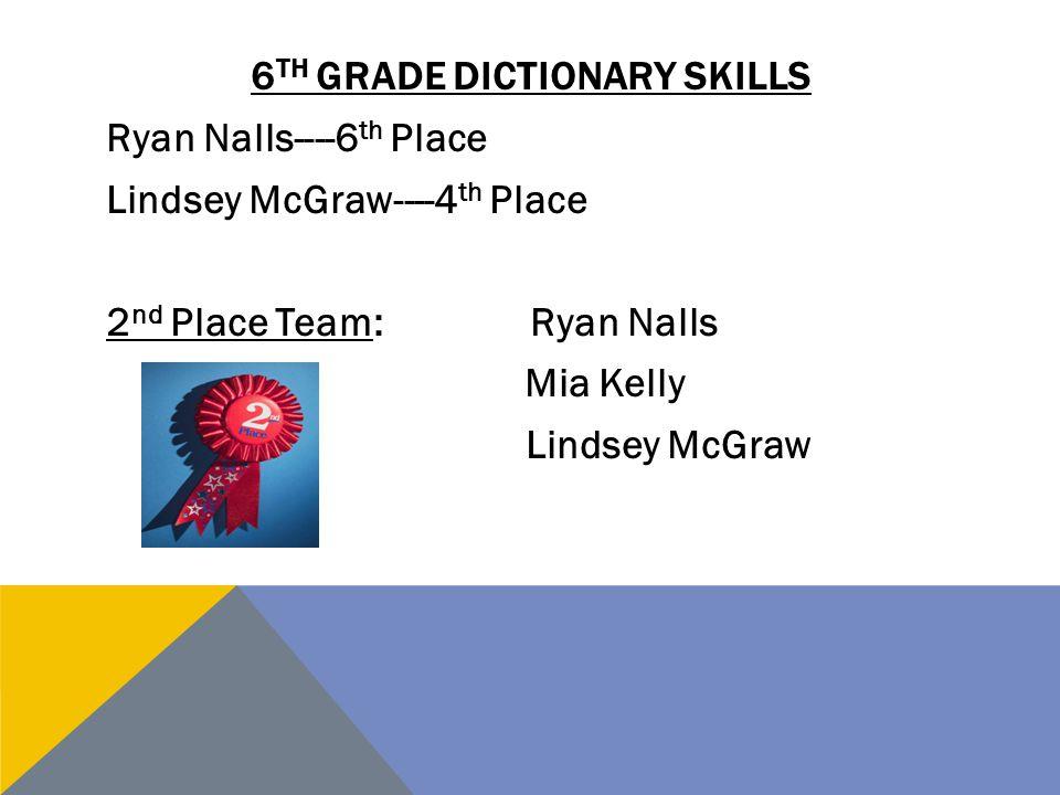 6th grade dictionary skills