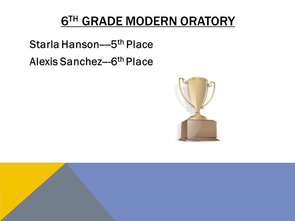 6th grade modern oratory