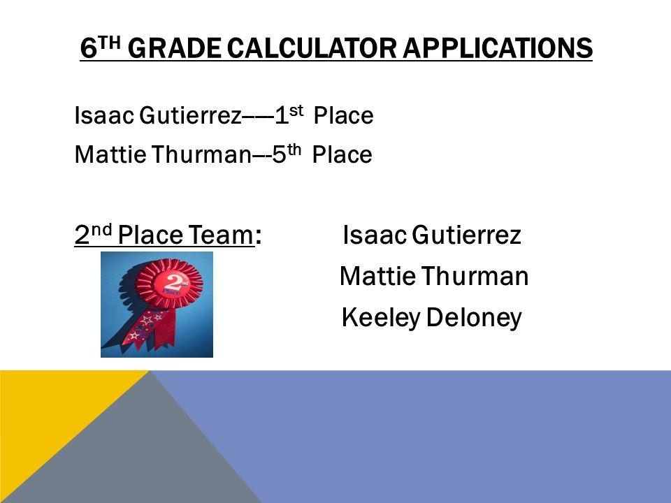 6th grade Calculator Applications