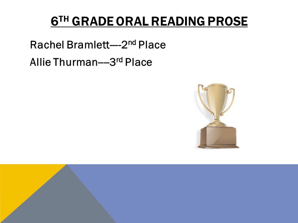 6th grade oral reading prose