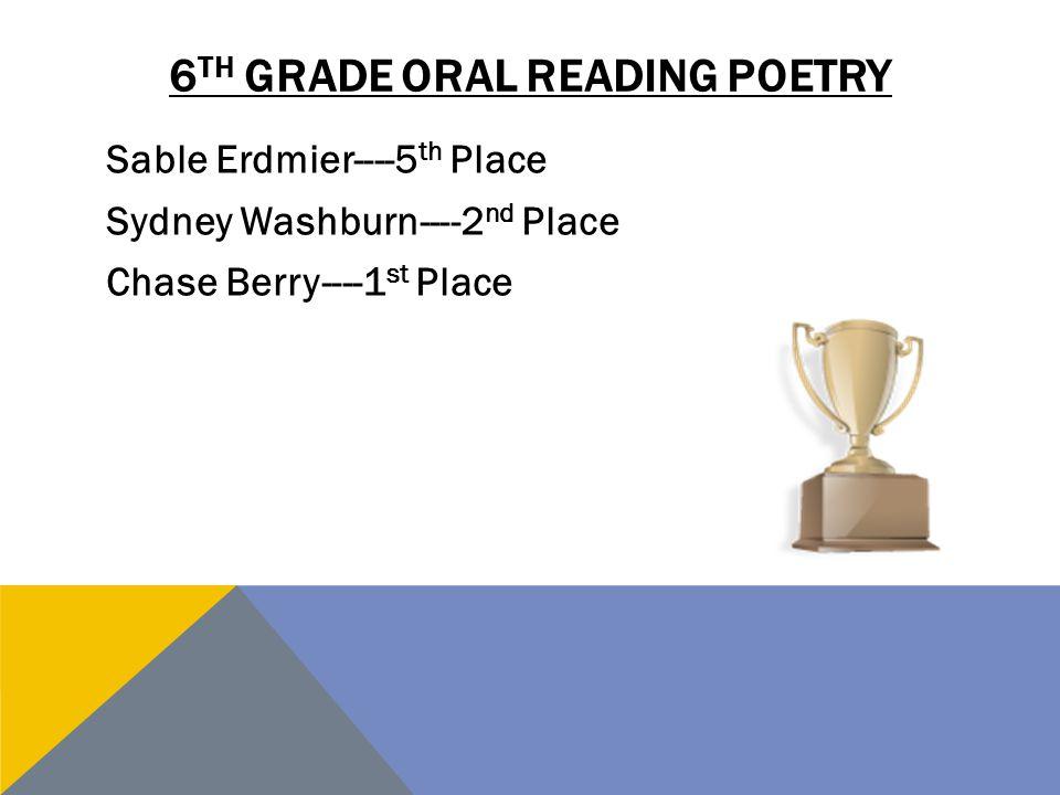 6th grade oral reading poetry