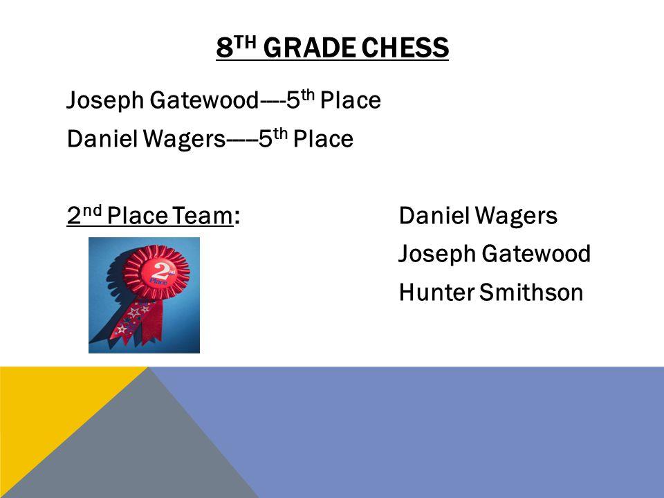 8th grade chess Joseph Gatewood----5th Place Daniel Wagers-----5th Place 2nd Place Team: Daniel Wagers Joseph Gatewood Hunter Smithson
