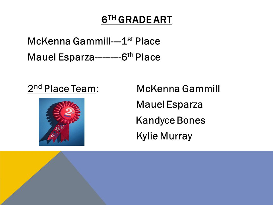6th grade art McKenna Gammill----1st Place Mauel Esparza----------6th Place 2nd Place Team: McKenna Gammill Mauel Esparza Kandyce Bones Kylie Murray