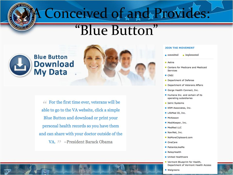 VA Conceived of and Provides: Blue Button