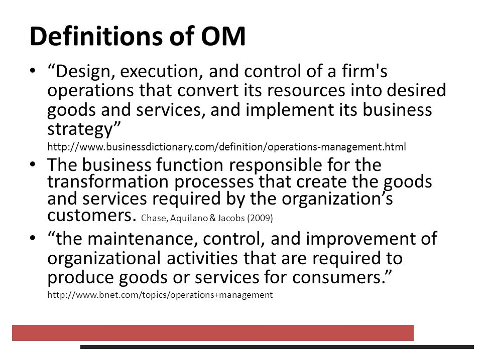 Definitions of OM