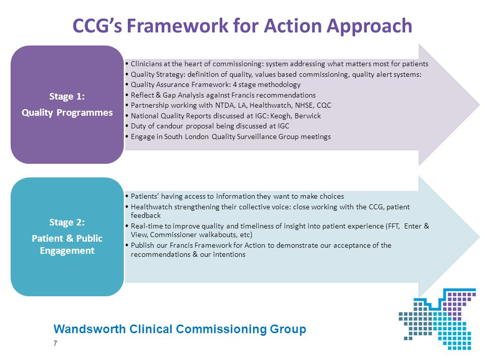 CCG's Framework for Action Approach