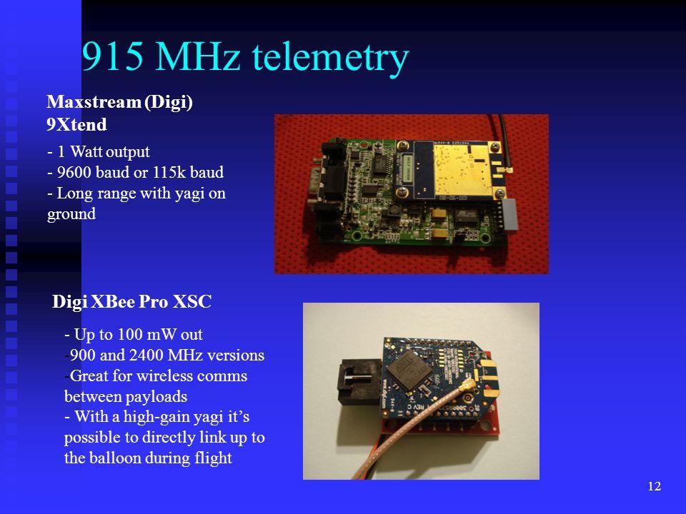 915 MHz telemetry Maxstream (Digi) 9Xtend Digi XBee Pro XSC