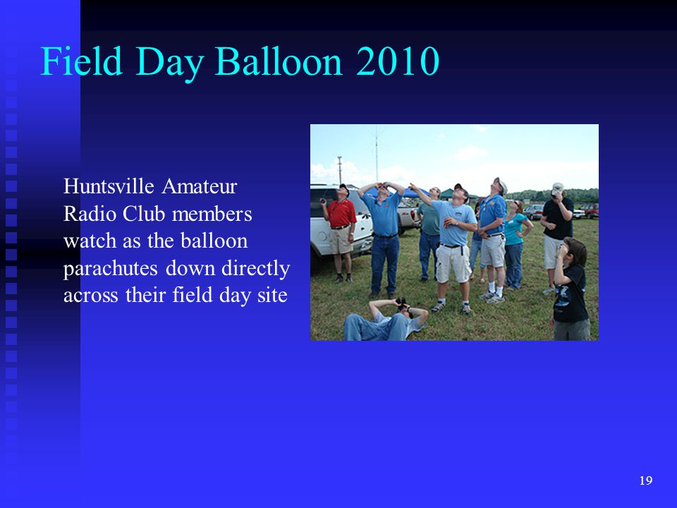 Field Day Balloon 2010 Huntsville Amateur Radio Club members watch as the balloon parachutes down directly across their field day site.