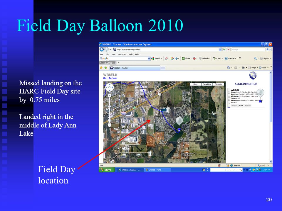 Field Day Balloon 2010 Field Day location