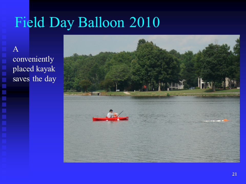 Field Day Balloon 2010 A conveniently placed kayak saves the day