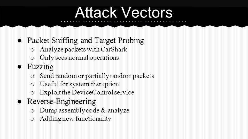Attack Vectors Packet Sniffing and Target Probing Fuzzing